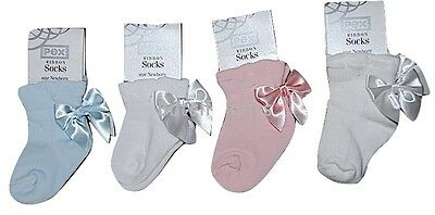 Pex Baby Girls Spanish Style Pretty Satin Ribbon Bow Ankle Sock 0-36 Month