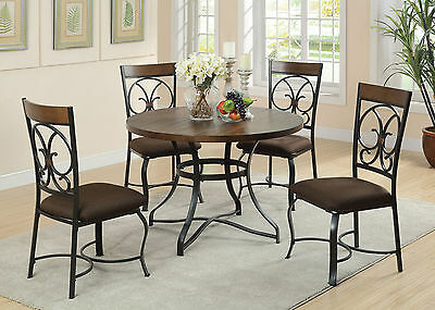 Antique Transitional Cherry & Balck Finish Dining Room Furniture Dining Set 5pc