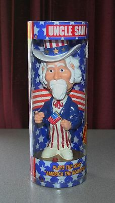 "Gemmy Industries 9.5"" UNCLE SAM BOBBLE HEAD DOLL FIGURINE 2001- DOES NOT PLAY T4"