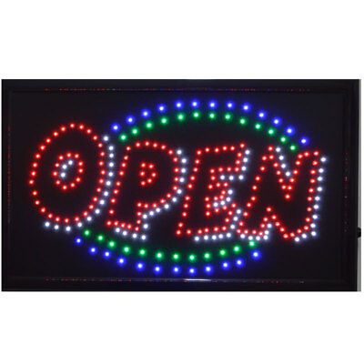 """Large Animated LED Neon BUSINESS OPEN Sign w. Flashing Static Switch 21"""" X13"""""""
