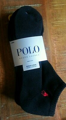 Polo Ralph Lauren Mens 4 Pair Classic Cotton Ankle Sport Socks Black NEW Low