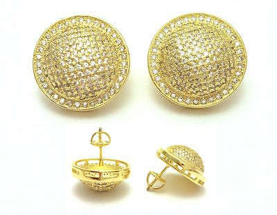 Mens New Iced Out 18K Yellow Gold Finish Lab Diamond Screw Back Stud Earrings