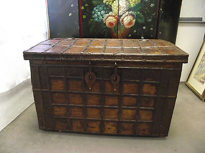 Antique Anglo Indian Teak Iron Bound Trunk/chest Or Coffer - Large & Heavy