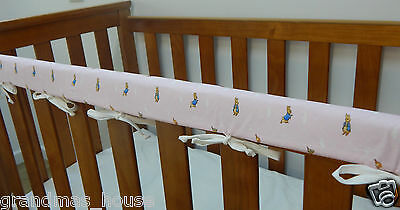 1 x Baby Cot Rail Cover Crib Teething Pad - Peter Rabbit - Pink