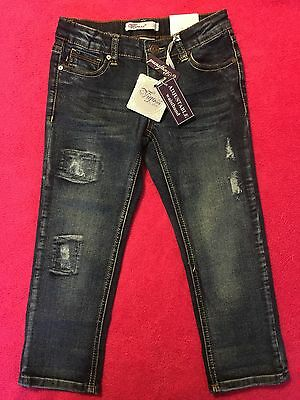 NWT Vigoss Jeans - Girls - Adjustable Waist Distressed Boyfriend Patch Jeans - 8