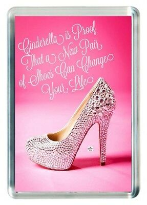 Cinderella Glass Shoe Slipper Proof Change Your Life Quote Saying Fridge Magnet