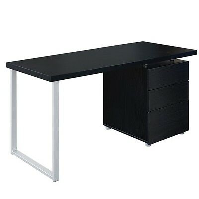 Office Computer desk with 3 Drawers White Black