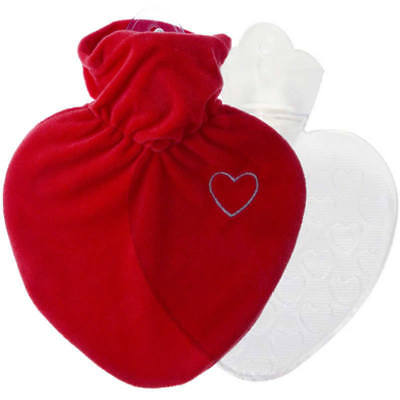 Hugo Frosch Hot Water Bottle With Love Heart Cover 1L