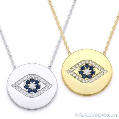 Evil Eye CZ Turkish Nazar Greek Charm Circle Necklace Pendant in Sterling Silver