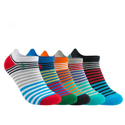 5 Pairs Mens Striped Cotton Socks Lot Crew Ankle Low Cut Casual Dress Socks 9-12