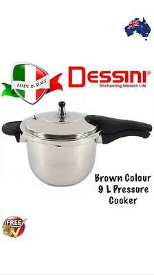 Dessini 9 Liter Pressure Cooker 18/8 Stainless Steel Brown Colour