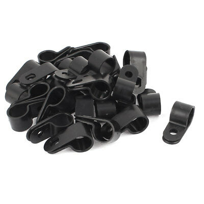 30Pcs Black Plastic R Type Cable Clip Clamp for 12mm Dia Wire Hose Tube