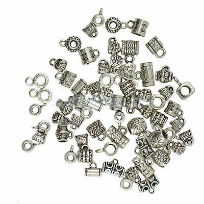 100Pcs Mix Antique Silver Charm Pendants Spacer Beads with Loop DIY Jewelry