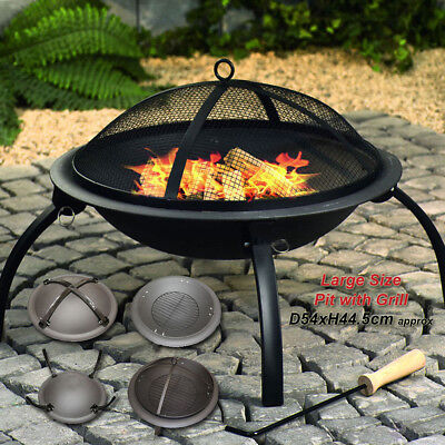Portable Bbq Patio Bowl Fire Pit Log Heater Folding Garden Outdoor Camping Grill