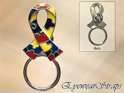 NEW Autism Awareness Puzzle Ribbon Glasses Rhinestone Brooch Pin Holder Charity