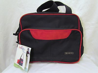 Baby Boom Bb Gear Destinations Diaper Bag Black & Red Suede Leather New W/ Tags!
