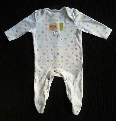 Baby clothes GIRL 0-3m F&F white/multi-colour hearts cotton babygrow SEE SHOP!