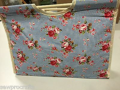 Luxury Craft Bag Knitting Bag Roses Floral Blue Gift Hobby Sewing Double Handles