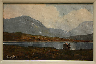 Original Irish Oil Painting CATTLE AT LOUGH INAGH, CONNEMARA by EILEEN MEAGHER