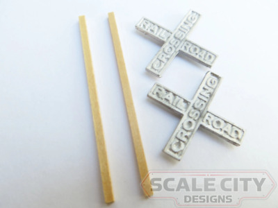 48-427 Crossbucks w/ Wood Post Railroad Crossing Sign O Scale FKA Keil Line