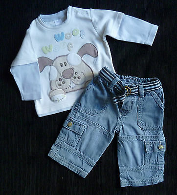 Baby clothes BOY 3-6m outfit NEXT/Mothercare dog long sleeve top/denim jeans NEW