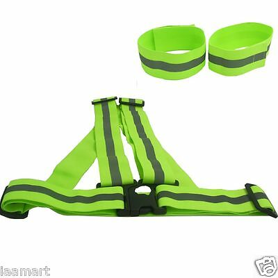 Adjustable Safety High Visibility Running Cycling Reflective Vest Gear Stripes N