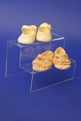 2 & 3 Tier Step Clear Acrylic/Perspex Retail Counter Display Riser Jewellery