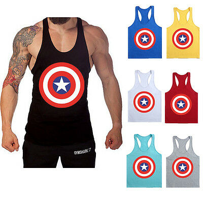 Men Captain America Singlets Gym Tank Top Stringer Bodybuilding Fittness Vest
