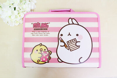 Molang cute school office Stationery Zipper File Case - Pink line