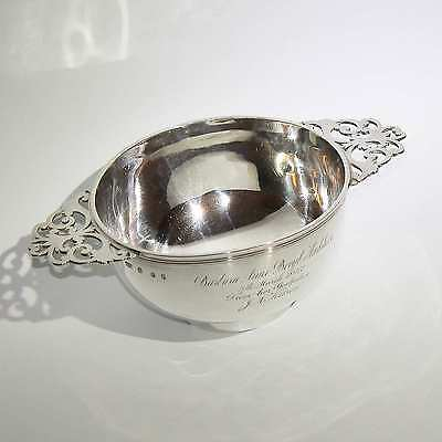 Huge 1907 Antique Scottish Solid Sterling Silver Quaich Bowl Hamilton & Inches