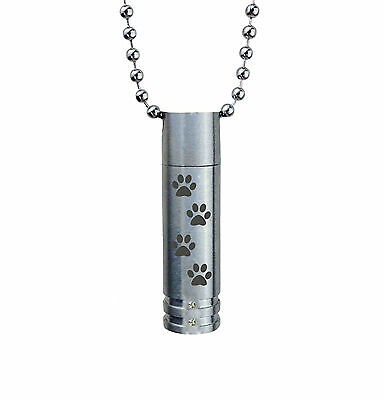 Paw Cylinder with Crystals Urn Pendant Cremation Jewellery Memorial Engraving