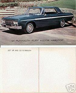 1964 Plymouth Fury  Advertising Postcard