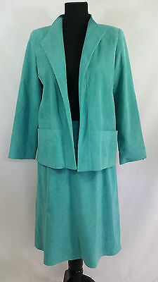 VTG Skirt & Blazer 2 Pc Set UltraSuede Green Samuel Robert by Peter Hatsi Androu