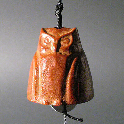 Vintage Japanese Iron Figural  Bell/windchime-Red OWL Bird