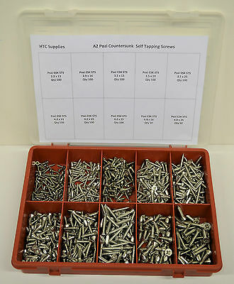 900 Stainless Steel Pozi Countersunk Screws / Self Tapping / 10 Sizes/ with box