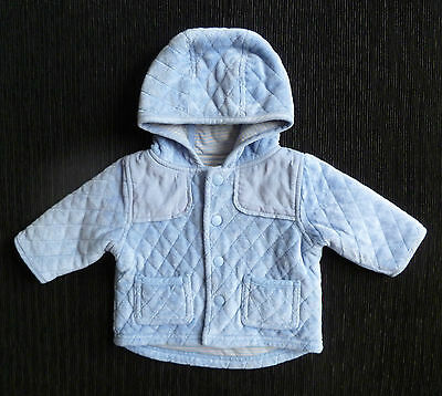 Baby clothes BOY 0-3m NEW! NEXTquilted soft blue velour hood jacket/coat lined