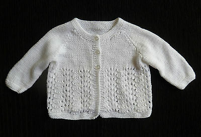 Baby clothes BOY GIRL 6-9m white hand-knit patterned soft cardigan SEE SHOP!