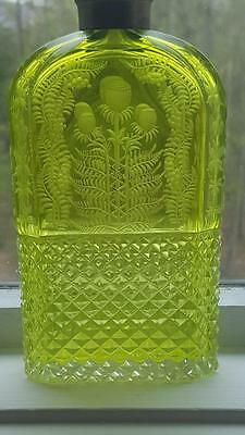 Ultra Rare Antique FLASK  Cased Vaseline & Clear Glass w/ hand cut & etched
