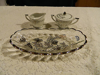 Lefton 25th Anniversary Cream Pitcher and Sugar Bowl with Glass Dish