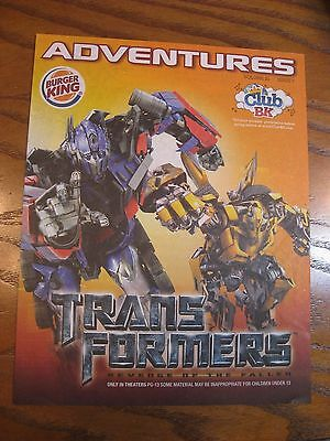 Burger King - Transformers - Adventures Leaflet Magazine- Vol. 20 Issue 7 - 2009