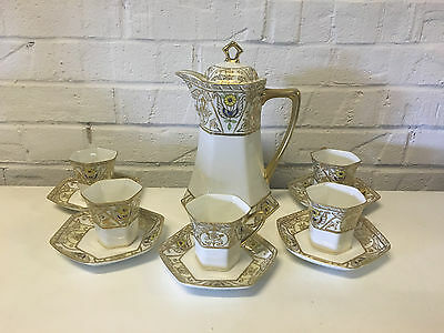 Antique Japanese Noritake Nippon Morimura Bros Porcelain 11 Piece Chocolate Set