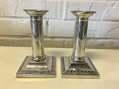 Thomas Bradbury & Sons Sterling Silver Pair Candles Commemorating End WW I Peace