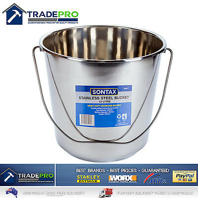 Stainless Steel Bucket with Handle 12Ltr HDuty Premium Quality NewModel 12L Pail