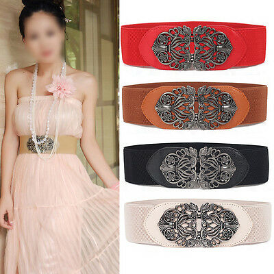 Women Retro Belt Carved Elastic Waistband Wide Stretch Metal Interlock Buckle