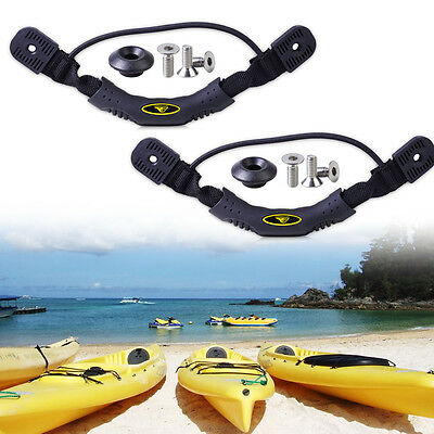 2Pcs Black Kayak Canoe Boat Side Mount Carry Handle with Bungee Cord Accessories