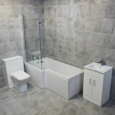 Vadar L Shape Showerbath Suite 1000mm Vanity Unit Basin + Toilet Set LEFT HAND