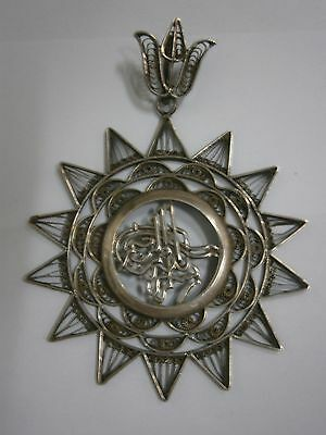 Antique 19Th/early 20Th Century Silver Tughra Medal Filigree Turkish Ottoman Old