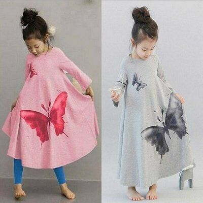Toddler Kids Baby Girls Butterfly Dress Long Sleeve Princess Party Tutu Dresses