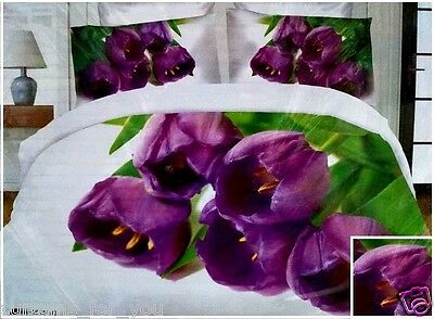 Nice Fabric Double King Size ! 4 Pcs !3D Bedding Set Purple 3 D For You Free P&p