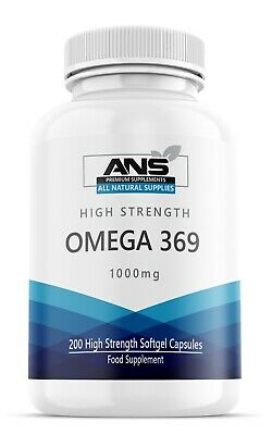 All Natural Omega 3 6 & 9, 1000mg High Strength liquid softgels 200 per pack